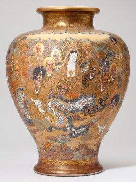 Satsuma Porcelain Thousand Faces Floor Vase Lot 455