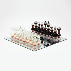 Grappa Murano Boxed Crystal Chess Set with Glass Board