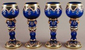 Signed Enamel Blue Moser Jeweled Glass Goblets (4)