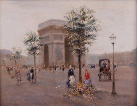 Andre Gisson 1921-2003 Paris ArcdeTriomphe Painting