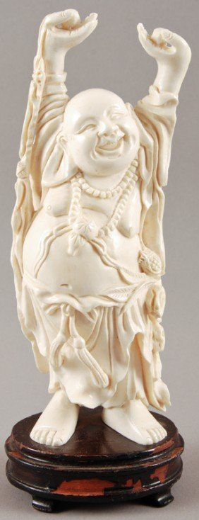 "Carved 7"" Chinese Ivory Figure Of Happy Buddha"