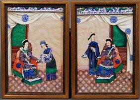 Pair Chinese 19th Century Silk Ancestor Paintings