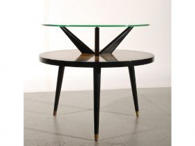 Mid Century 1940s  Round Pencil Leg Glass Top Table