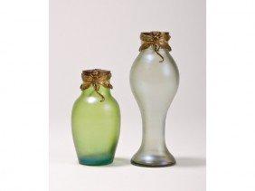 Two Art Nouveau Austrian Glass Dragonfly Vases