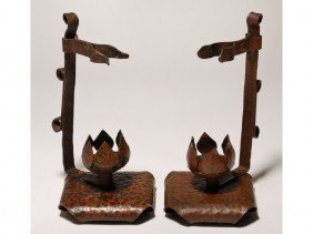 Pair Of Arts & Crafts Hammered Copper Candlesticks