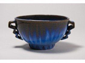 Fulper Handled Art Pottery Blue Flambe Bowl