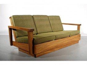 French Mahogany Art Deco Three Cushion Sofa