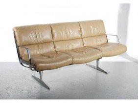 Mid Century Modern Leather & Aluminum Sofa