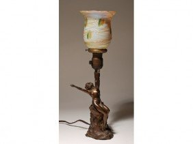 Art Deco Figural Nude Lamp With Art Glass Shade