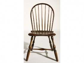 Windsor 19th C. Seven Spindle Bow Back Side Chair