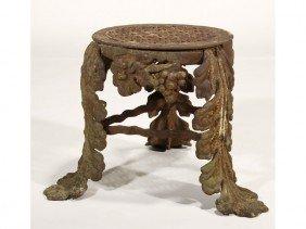 Cast Iron 19C Round Acanthus Tripod Garden Seat