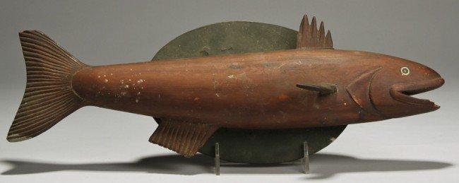 Primitive folk art carved quot painted fish plaque lot