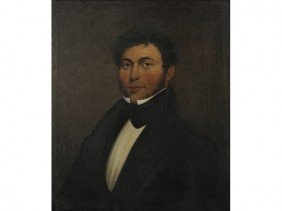 Oil Painting 19C Portrait Of Gentleman - Gold Frame