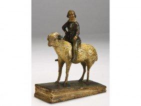 Papier Mache 1855 Girl On Lamb Squeak Toy