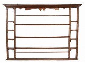 English Oak 19th C.  Plate Rack Or Porringer Shelf