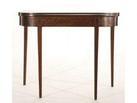 NE 19C Hepplewhite Oval Inlaid Mahogany Game Table