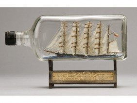 Antique 1923 Glass Five Masted Ship In A Bottle