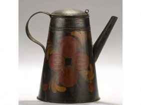 Paint Decorated Pomegranate 19C Tole Coffee Pot