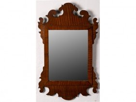 Chippendale Style Tiger Maple Scrolled Mirror