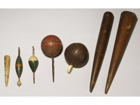 Marine Items 19C  Whale & Wood Fids, Coconut Cup
