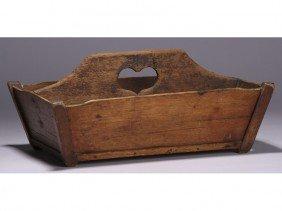 Old Wood 19C Heart Handled Folk Art Knife Box