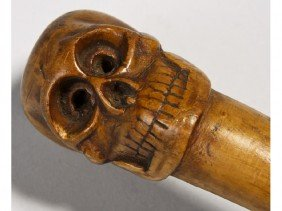 Carved Wooden 19C Skull Cane
