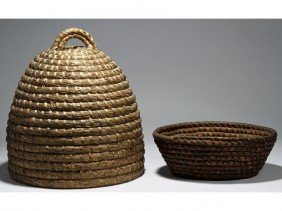 """Two Woven Rye Straw Beehive & Oval 15 Baskets"""""""