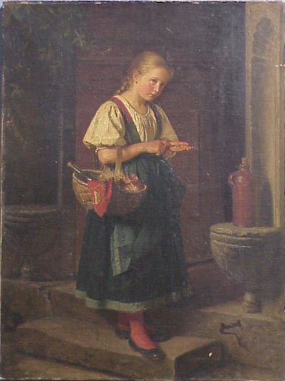 275 Berthold Woltze 1829 1896 Girl Painting Lot 275