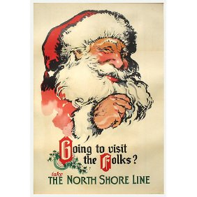 Old Chicago Transit Poster - North Shore Santa Claus