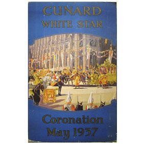 Cunard White Star Line 1937 Coronation Travel Poster