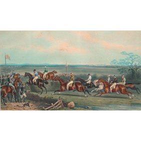 British 1871 AW. Neville Horse 28x40 Aquatint Print