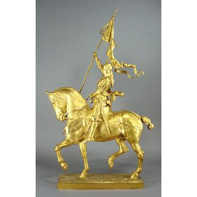 "Emmanuel Fremiet 29"" Joan Of Arc 19thC. Gilt Bronze"