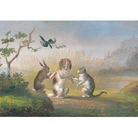 Fine Signed 19thC. European Dog Cat Rabbit Painting