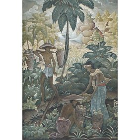 Indonesia Bali Asian 1930s Signd Barwa Oil Painting
