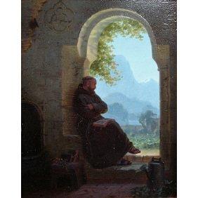 Hans Brunner 19thC. Monk In Garden Doorway Painting