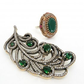 Costume Jewelry Silver Brooch And Ring