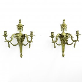 A Pair Of 19th Century Bronze Wall Sconces