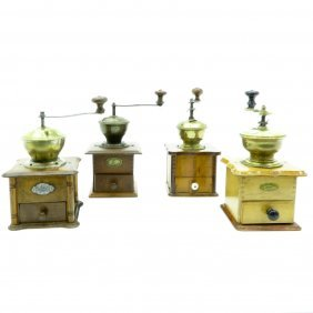Lot Of 4 Antique Coffee Grinders