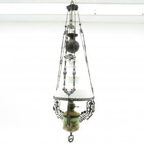 Hanging Oil Lamp With Windmill Decor