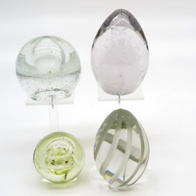 Lot Of 4 Art Glass Press Papiers Or Paper Weights