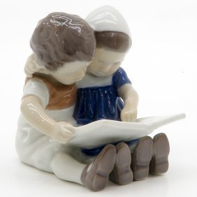Danish Porcelain Figurine Of Children Reading