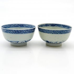 19th Century China Porcelain Rice Bowls