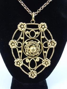 Vintage Large Gold Tone Pendant & Chain