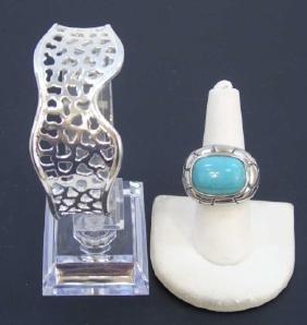 Pierced Sterling Cuff Bracelet W Turquoise Ring