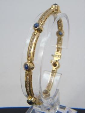 Estate 14k Gold Diamond & Sapphire Tennis Bracelet