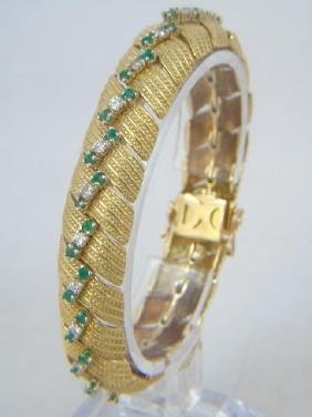 Estate Hammerman Bros 18k Diamond Emerald Bracelet
