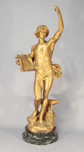 Antique Gilt Metal Marble French Statue By Perron