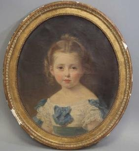 Antique French Framed Portrait Painting Young Girl