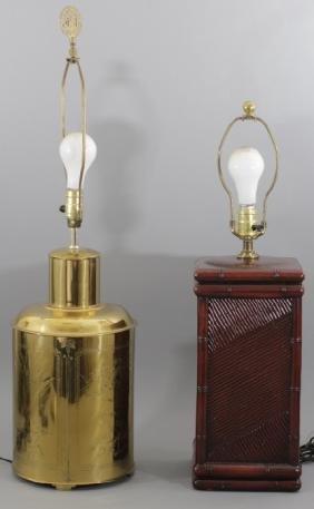 Pair Asian Inspired Lamps Brass & Ceramic Designs