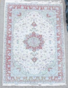 Signed Hand Knotted Wool & Silk Persian Carpet